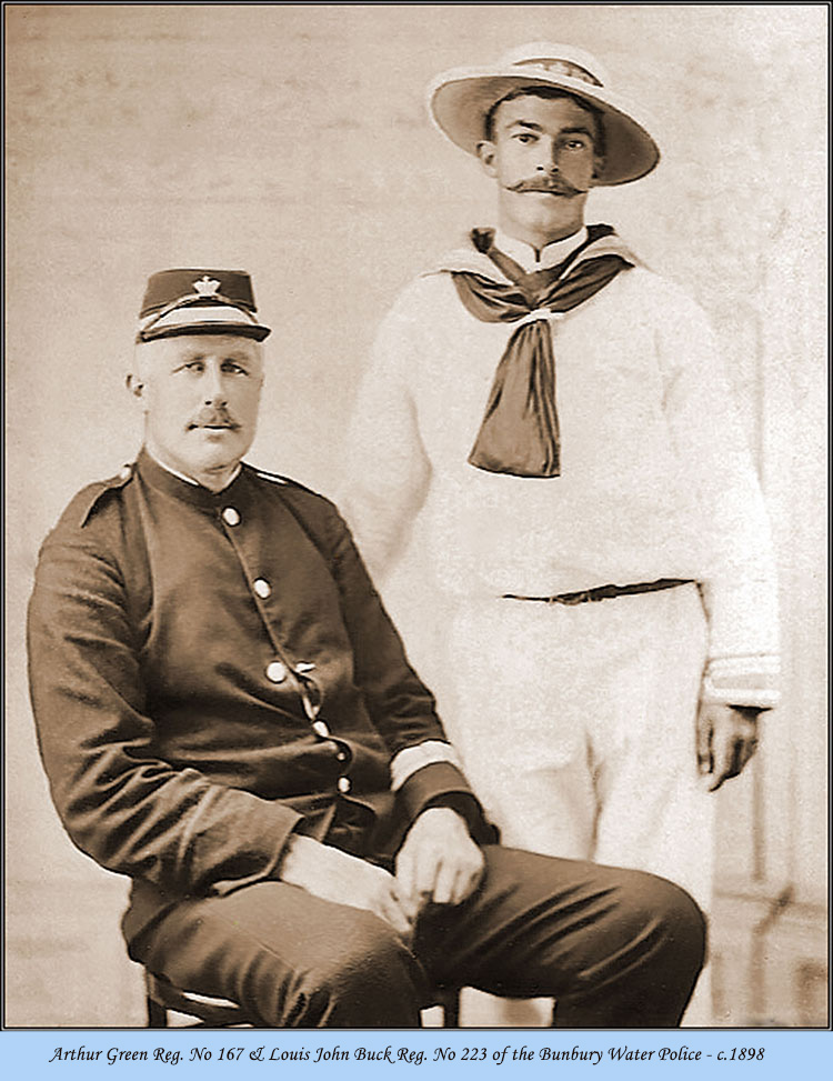 Arthur Greene Reg. No 167 & Louis John Buck Reg. No 223 of the Bunbury Water Police c.1898